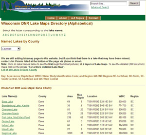 I'm looking for lake maps in Wisconsin, where should I start ... on