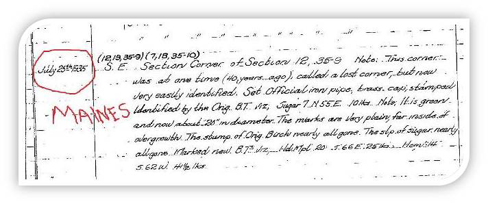 Surveyor notes of bearing tree