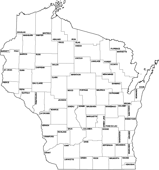 Wisconsin Outline Maps – State Cartographer\'s Office – UW–Madison
